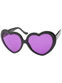 ae757b13d9d Happy Hour Heart Ons Sunglasses Black Purple Lens