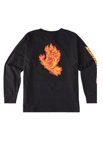 56c24da9 Santa Cruz Flame Hand Longsleeve YOUTH T-Shirt