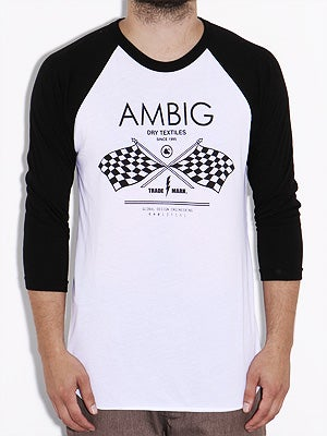 Ambig Racing Team 3/4 Sleeve Tee White/Black MD
