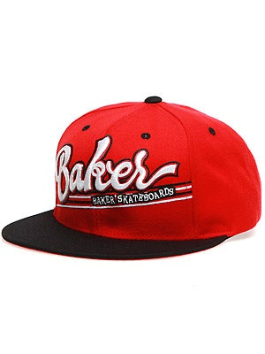 Baker Game Time Snapback Hat Red/Black Adj.