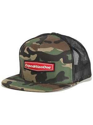 Expedition One Wordmark Trucker Hat Camo Adj.