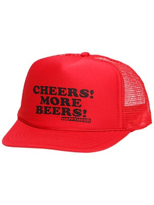Happy Hour Cheers More Beers Hat Red Adjust
