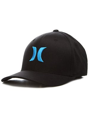 Hurley One & Only Black Flexfit Hat Cyan SM/MD
