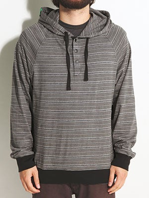 LRG Team Striped Hooded Henley Black LG