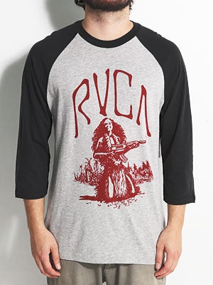 RVCA Shooting Hula Raglan Shirt Athletic/Black XL