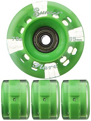 Sunset Flare Green LED Wheels  65mm