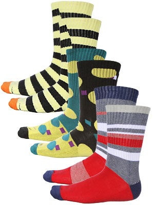 Volcom Patterns 3 Pack Socks Assorted/MLT