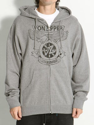 Von Zipper Sea Vulture Hoodzip Heather Grey SM