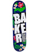 Baker Stacked Floral Blue Deck  8.125 x 32.25