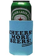 Happy Hour Cheers More Beers Coozie Blue