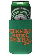 Happy Hour Cheers More Beers Coozie Green