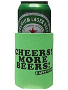 Happy Hour Cheers More Beers Coozie Neon Green