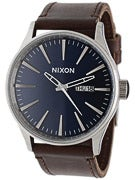 Nixon The Sentry Leather Watch  Blue/Brown