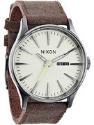 Nixon The Sentry Leather Watch  Gunmetal/Brown