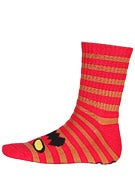 Toy Machine Monster Stripe Crew Socks Red/Brown