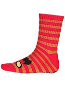 Toy Machine Monster Stripe Crew Socks Red/Brown