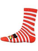Toy Machine Monster Stripe Crew Socks Red/White