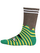 Toy Machine Sect Eye Stripe Crew Socks Grn/Yellow