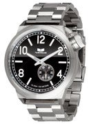 Vestal Canteen Metal Watch  Brushed Silver/Silver/Black