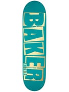 Baker Beasley Brand Name Teal/Gold Deck  8.25 x 31.875
