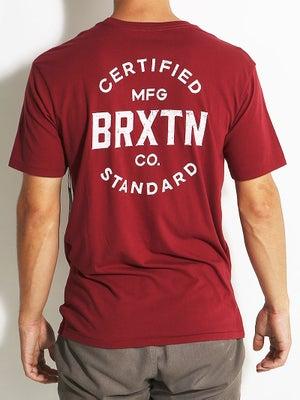 Brixton Cane Premium Tee Burgundy/White MD