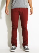 Brixton Grain 5 Pocket Twill Pants  Burgundy