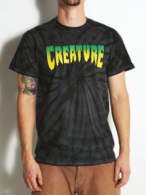 Creature Logo Tie Dye Tee SM Spider Black