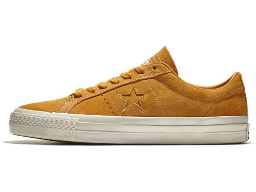 segundo Macadán perspectiva  Converse One Star Pro Shoes Saffron Yellow/Egret/Gum - Skate Warehouse