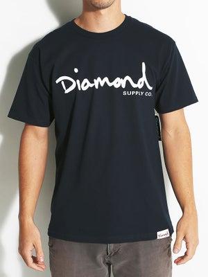 Diamond OG Script Tee MD Navy