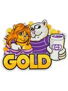 Gold Wheels Three Cups Sticker