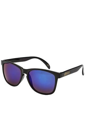 Glassy Deric Sunglasses  Black/Blue Mirror