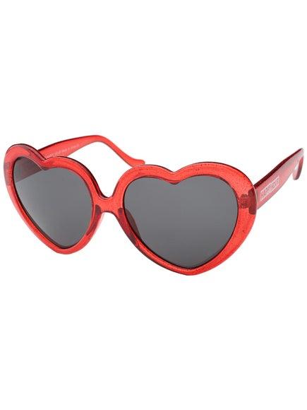 2b92436c21 Happy Hour Heart Ons Moxi Sunglasses Glitter Red