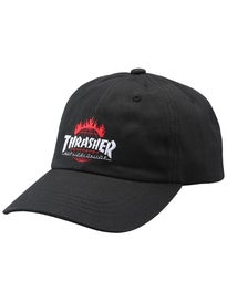 HUF Thrasher Curved Visor 6 Panel Strapback Hat