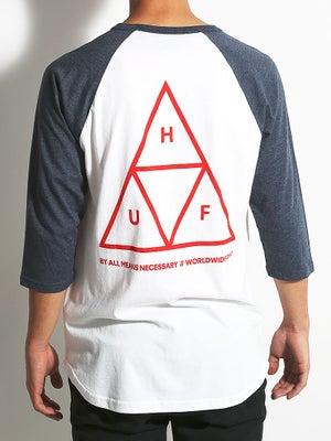 HUF Triple Triangle Raglan Navy Hthr XXL