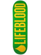 Lifeblood Logo Green/Yellow Deck  9 x 32.5