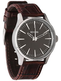 Nixon The Sentry 38 Leather Watch  Brown Gator