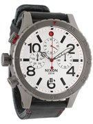 Nixon The 48-20 Chrono Leather Watch  Gunmetal/White