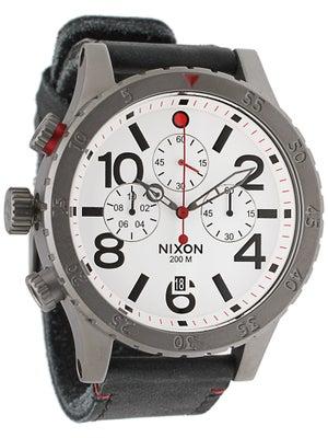 Nixon The 48-20 Chrono Leather Watch  Gunmetal/White