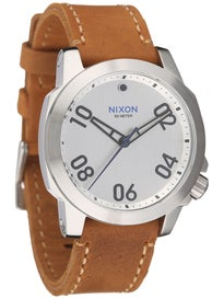 Nixon The Ranger 40 Leather Watch  Silver Saddle
