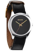 Nixon The Mod Leather Watch  Black/Silver/Gold