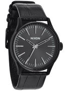 Nixon The Sentry 38 Leather Watch  Black Gator