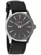 Nixon The Sentry 38 Leather Watch  Black