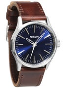 Nixon The Sentry 38 Leather Watch  Blue/Brown