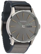 Nixon The Sentry Leather Watch  Gunmetal/Gray