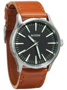 Nixon The Sentry 38 Leather Watch  Black/Saddle