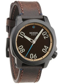 Nixon The Ranger 40 Leather Watch All Black/Brass/Brown