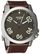 Nixon The Ranger 45 Leather Watch  Gunmetal/Dark Brown