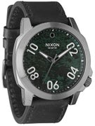 Nixon The Ranger 45 Leather Watch  Gunmetal/Green Oxyde