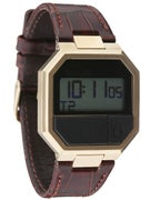 Nixon The Re-Run Leather Watch Brown Croc