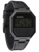 Nixon The Re-Run Leather Watch Black Croc